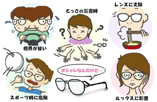 メガネのデメリット